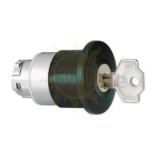 8LM2TB6542G508 Толкатель грибовидной кнопки d=40 мм в металлическом корпусе, для простой остановки, с фиксацией, возврат ключом G508, (без крепежного основания ..AU120), цвет черный