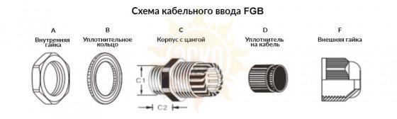 резьба: G 1 ; каб. d: 22~15 мм; приб. отв. d: 33.2 мм; цанга: литая